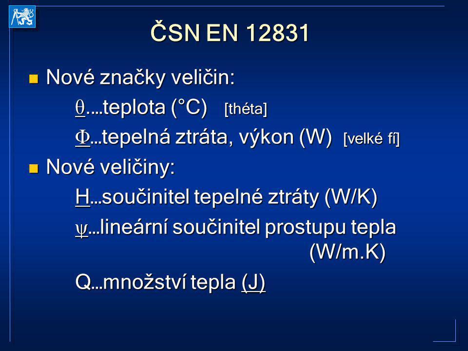 ČSN EN 12831 Nové značky veličin: θ.…teplota (°C) [théta]
